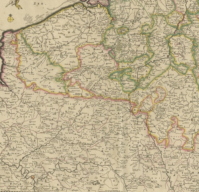 17th Century Antique Map of Belgium and Northern France by F. de Wit, circa 1680 For Sale