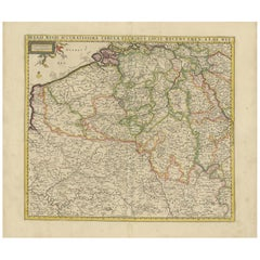 Antique Map of Belgium and Northern France by F. de Wit, circa 1680