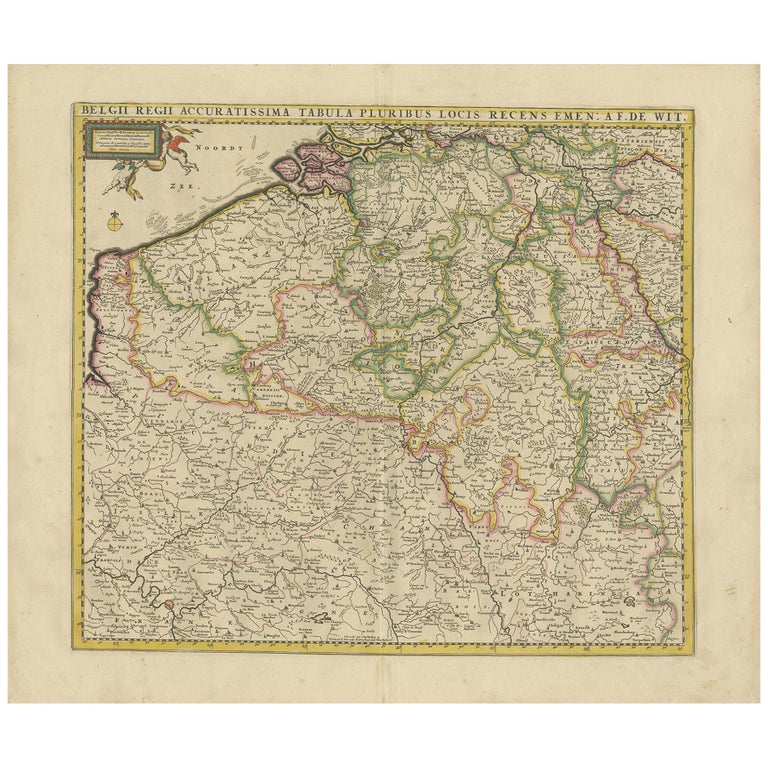Antique Map of Belgium and Northern France by F. de Wit, circa 1680 For Sale