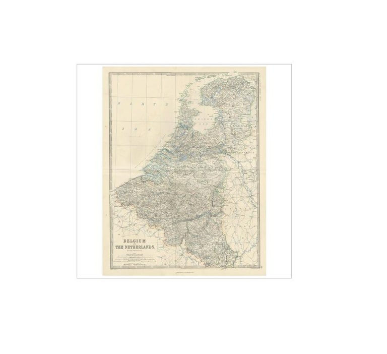 Antique map titled 'Belgium and The Netherlands'. This map originates from the 'Royal Atlas of Modern Geography' by Alexander Keith Johnston. Published by William Blackwood and Sons, Edinburgh and London, 1865.