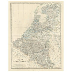 Antique Map of Belgium and The Netherlands by A.K. Johnston, 1865