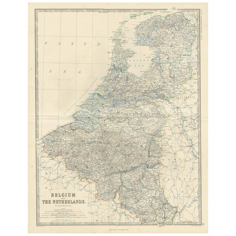 Antique Map of Belgium and The Netherlands by A.K. Johnston, 1865 For Sale