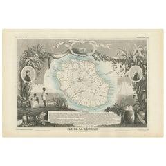 Antique Map of Bourbon/Reunion 'France' by V. Levasseur, 1854