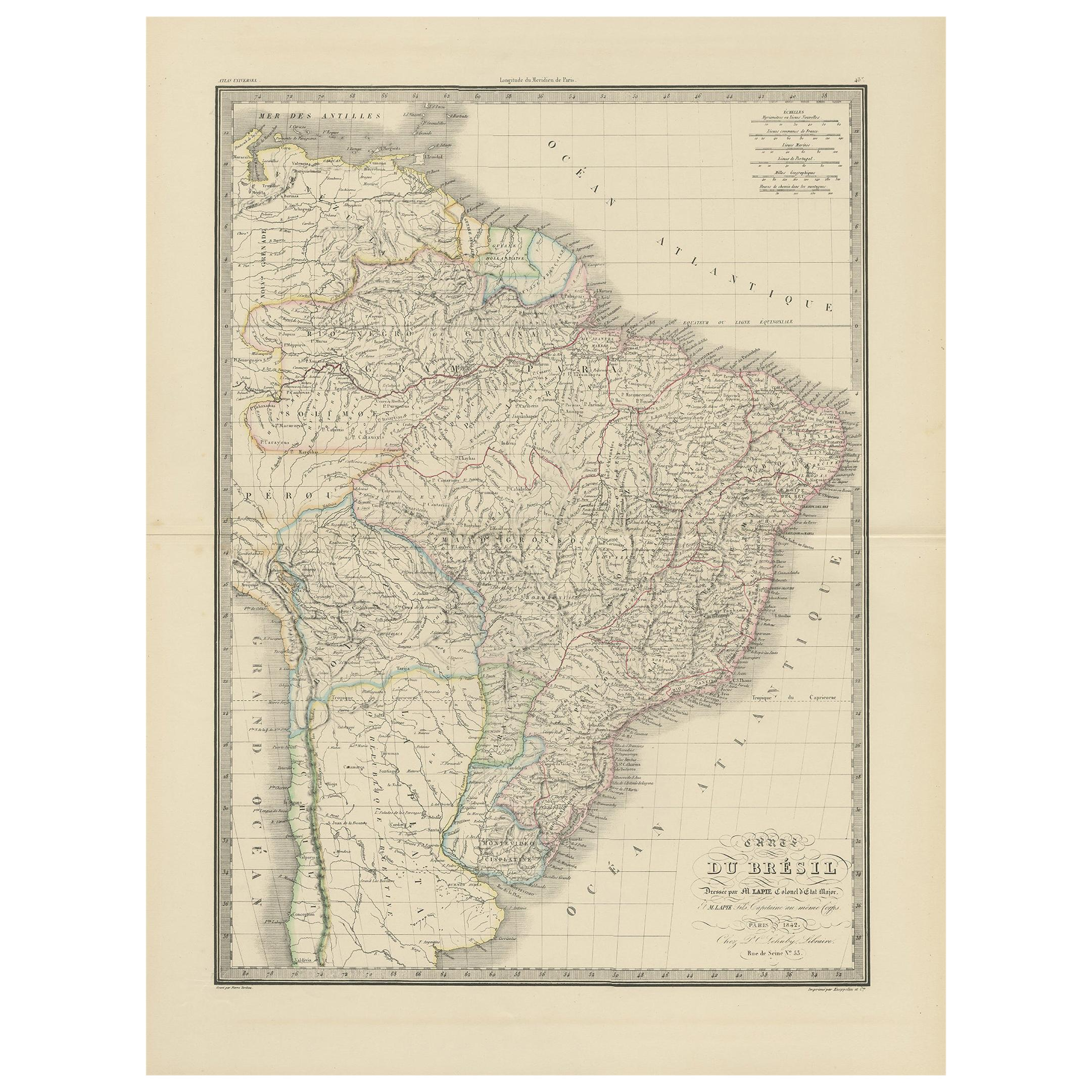 Antique Map of Brazil by Lapie, 1842