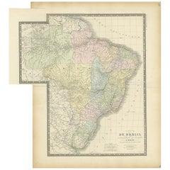 Antique Map of Brazil by Levasseur '1875'