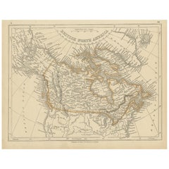 Antique Map of British North America by Lowry, '1852'