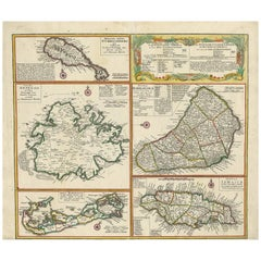 Antique Map of British Possessions in the Caribbean by Homann Heirs 'circa 1740'