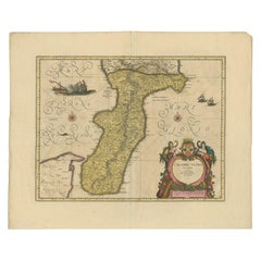 Antique Map of Calabria 'Italy' by Blaeu, circa 1690