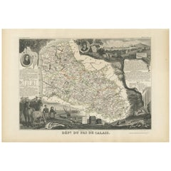 Antique Map of Calais 'France' by V. Levasseur, 1854