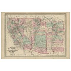 Antique Map of California, Utah, Nevada, Colorado, New Mexico & Arizona '1872'