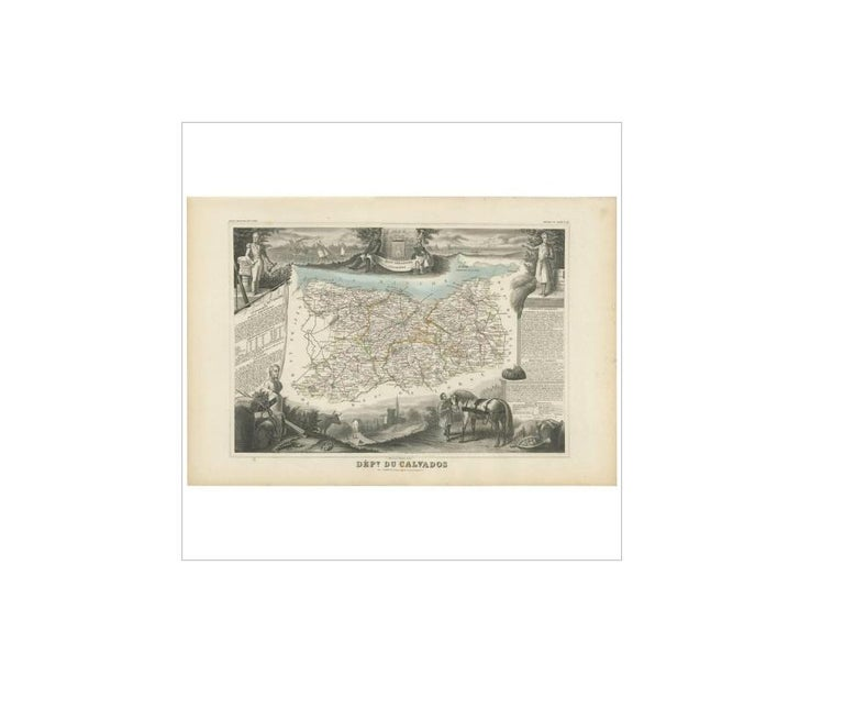 Antique map titled 'Dépt. du Calvados'. Map of the French department of Calvados, France. This area of France is known for its production of Calvados, the world's fines apple brandy. The whole is surrounded by elaborate decorative engravings