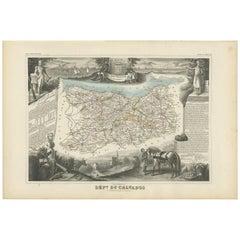Antique Map of Calvados 'France' by V. Levasseur, 1854