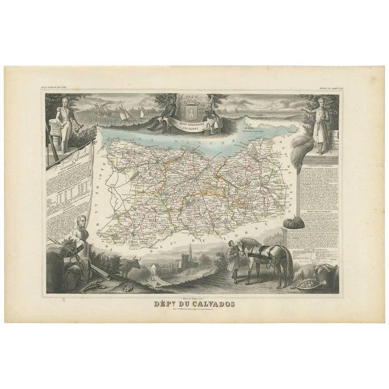Calvados France Map.Antique Map Of Calvados France By V Levasseur 1854 For Sale At