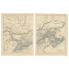 Antique Map of Canada, New Brunswick and Nova Scotia by Lowry, 1852