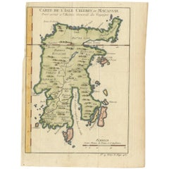Antique Map of Celebes 'Sulawesi, Indonesia' by Bellin, ciarca 1755