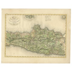 Antique Map of Central and East Java by Van den Bosch, 1818
