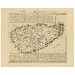 Antique Map of Ceylon, Sri Lanka by Chatelain, 1719