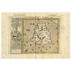 Antique Map of Ceylon 'Sri Lanka' by Ruscelli, 1574