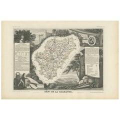 Antique Map of Charente 'France' by V. Levasseur, 1854