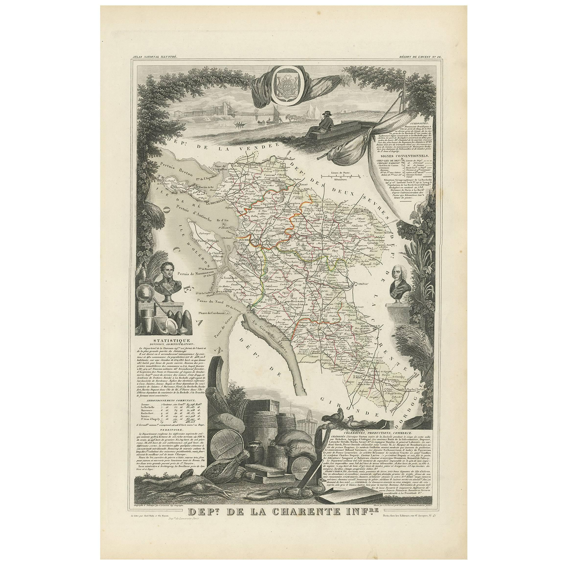 Antique Map of Charente Inférieure 'France' by V. Levasseur, 1854