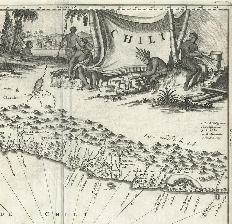 Antique Map of Chili by Montanus, circa 1671 In Good Condition For Sale In Langweer, NL