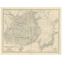 Antique Map of China and Japan by A.K. Johnston, 1865