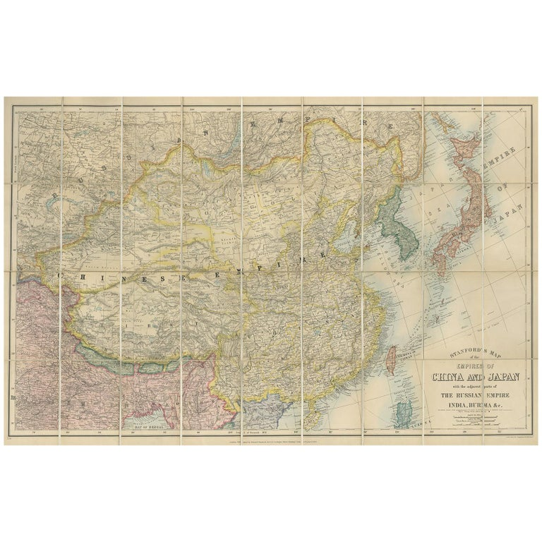 Map 1900.Antique Map Of China And Japan By E Stanford 1900