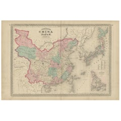 Antique Map of China and Japan by Johnson, 1872