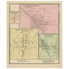 Antique Map of College Corner, Sugar Valley, New Lexington & Verona '1871'