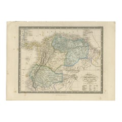 Antique Map of Colombia and British Guiana by Wyld '1845'
