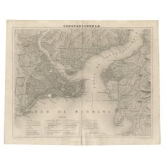 Antique Map of Constantinople and Surroundings by Balbi '1847'