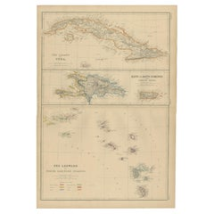 Antique Map of Cuba, Haiti and Porto Rico by W. G. Blackie, 1859