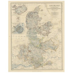 Antique Map of Denmark by A.K. Johnston, 1865