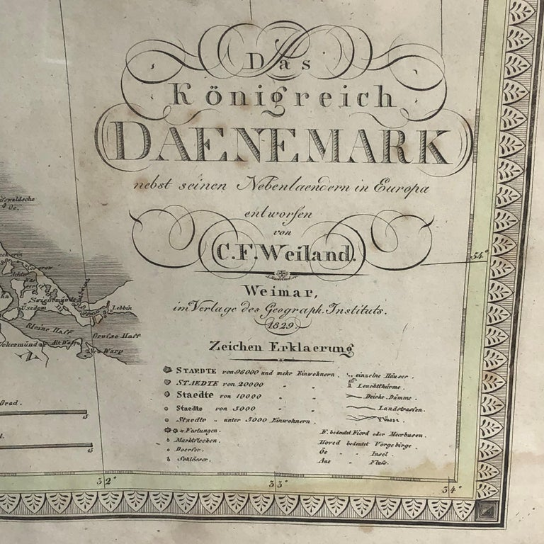 German Antique Map of Denmark by C. F. Weiland, 1829 For Sale