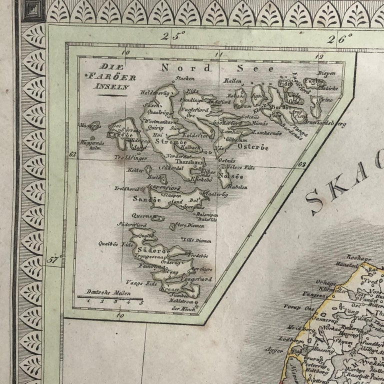 19th Century Antique Map of Denmark by C. F. Weiland, 1829 For Sale