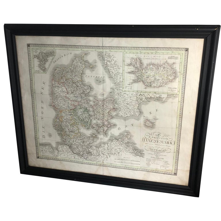 Antique Map of Denmark by C. F. Weiland, 1829 For Sale