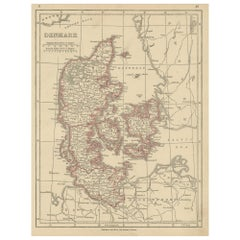 Antique Map of Denmark by Lowry, 1852