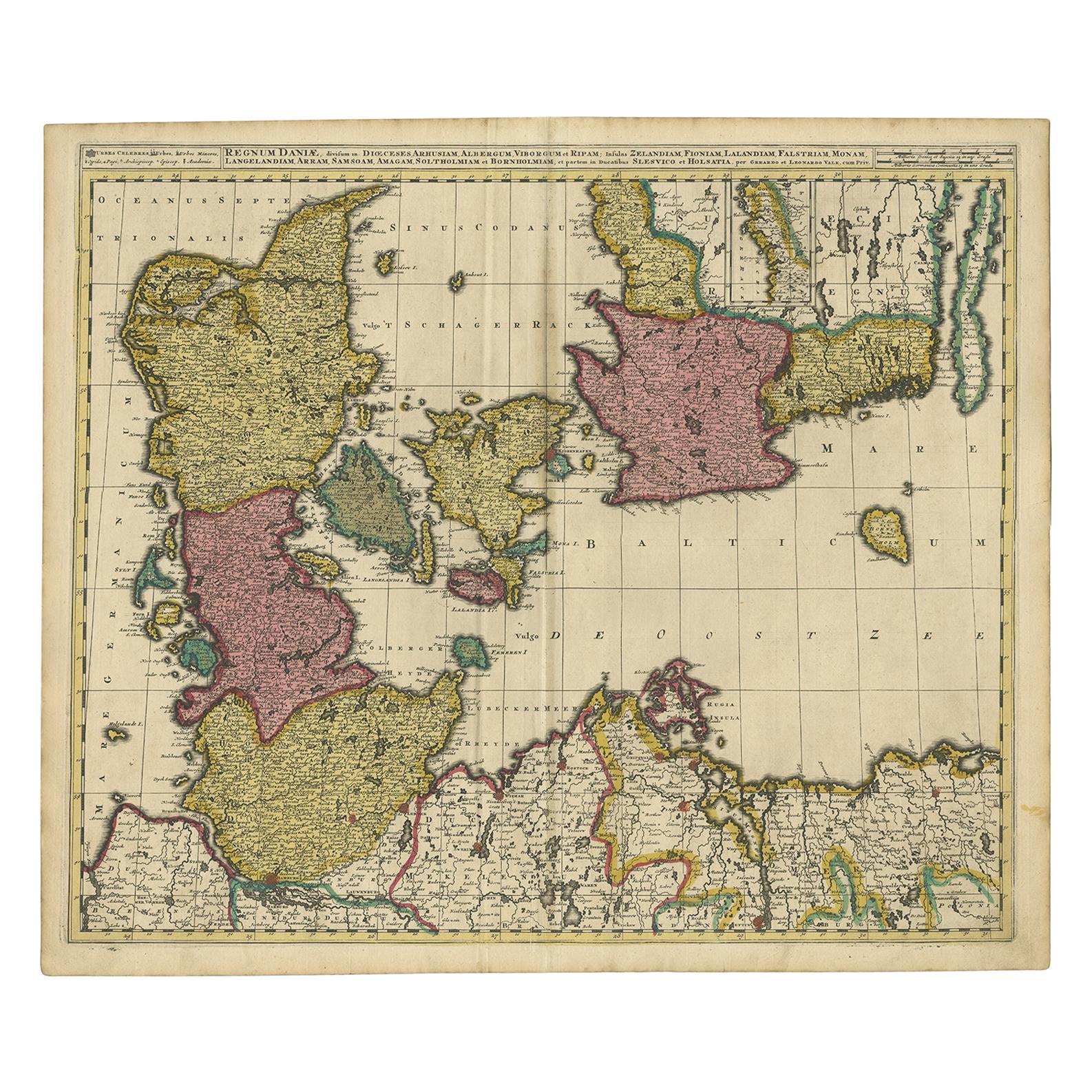 Antique Map of Denmark by Valk 'circa 1690'