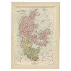 Antique Map of Denmark with Schleswig & Holstein by A & C. Black, 1870