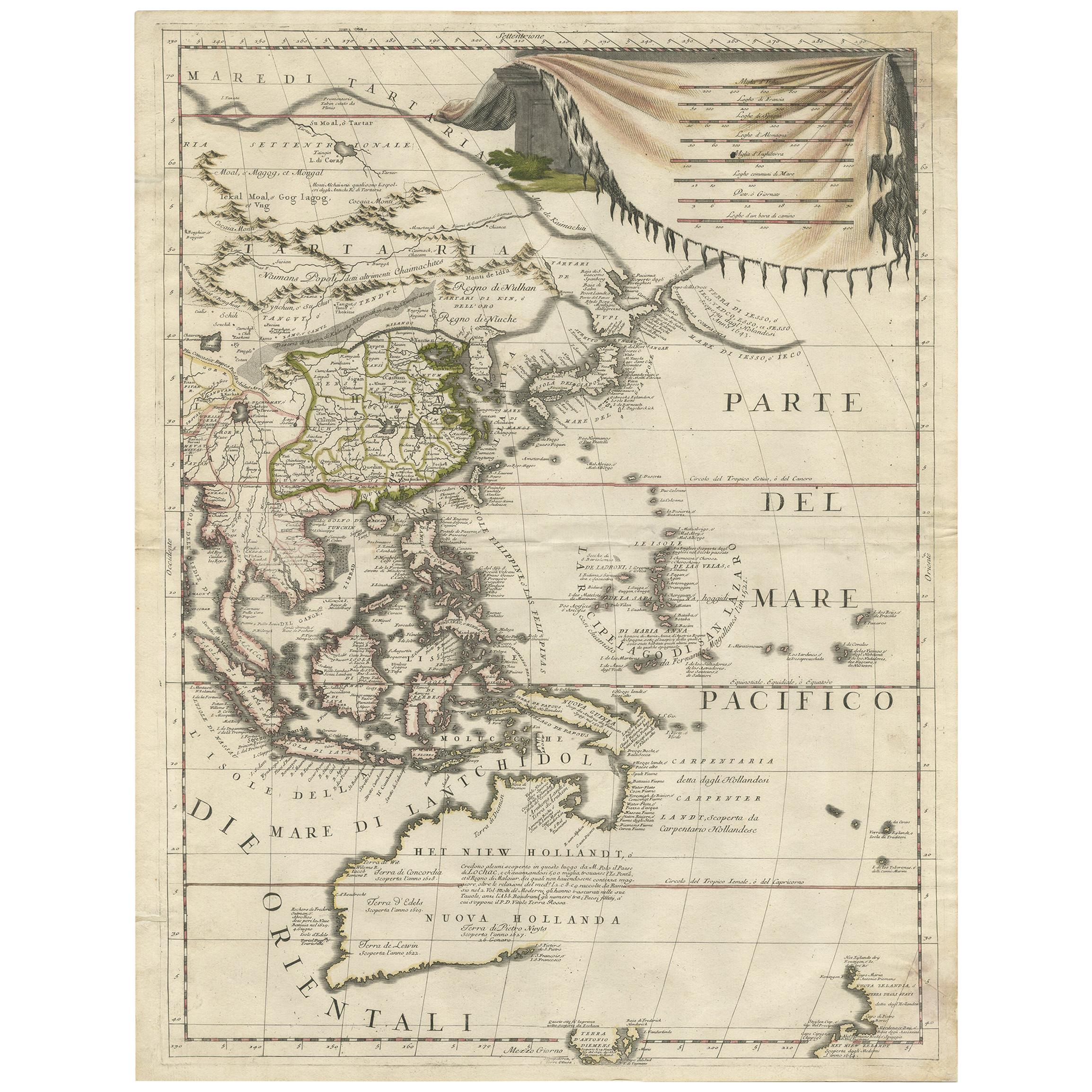 Antique Map of East Asia by Coronelli, circa 1690