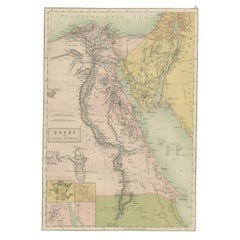 Antique Map of Egypt and Arabia Petraea by A & C. Black, 1870