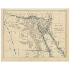 Antique Map of Egypt and Arabia Petraea by Lowry, '1852'