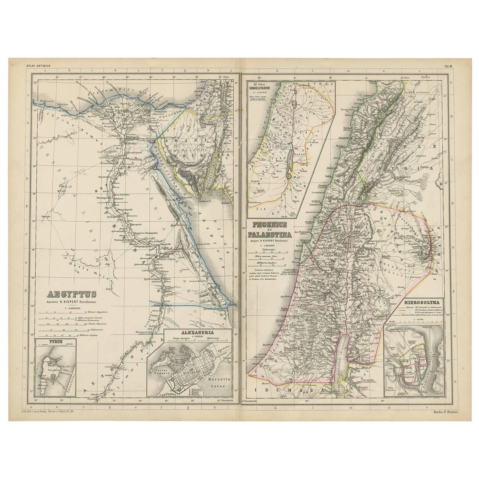 Antique Map of Egypt and Palestina by H. Kiepert 'circa 1870'