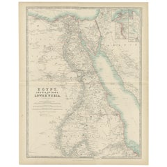 Antique Map of Egypt, Arabia Petraea and Lower Nubia by Johnston '1909'