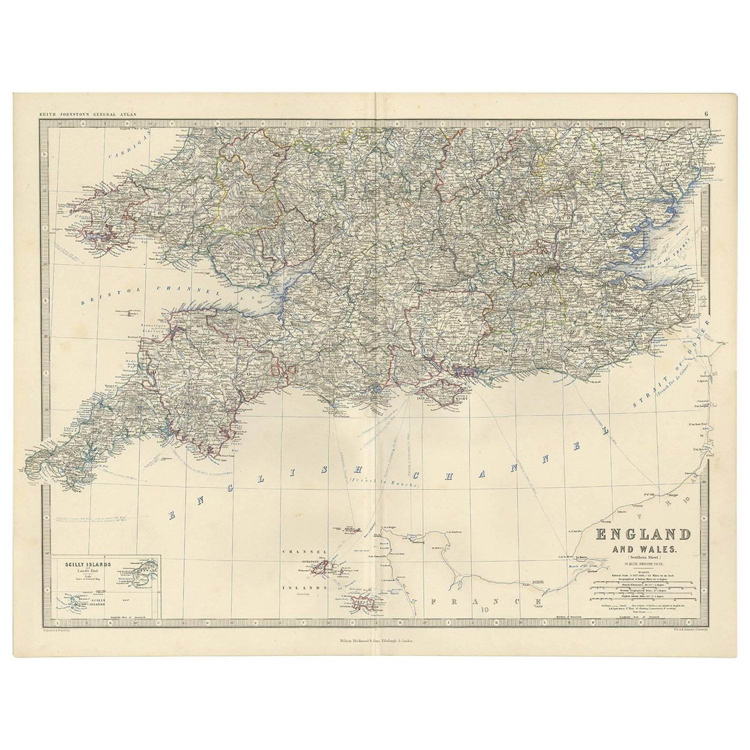 Map Of England In 1500.Antique Map Of England And Wales By A K Johnston 1865