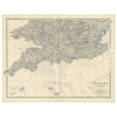 Antique Map of England and Wales by A.K. Johnston, 1865