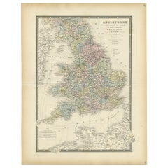 Antique Map of England by Levasseur, '1875'