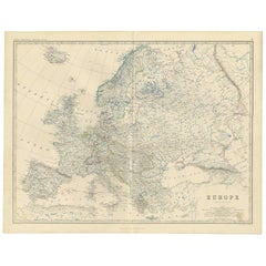 Antique Map of Europe by A.K. Johnston, 1865