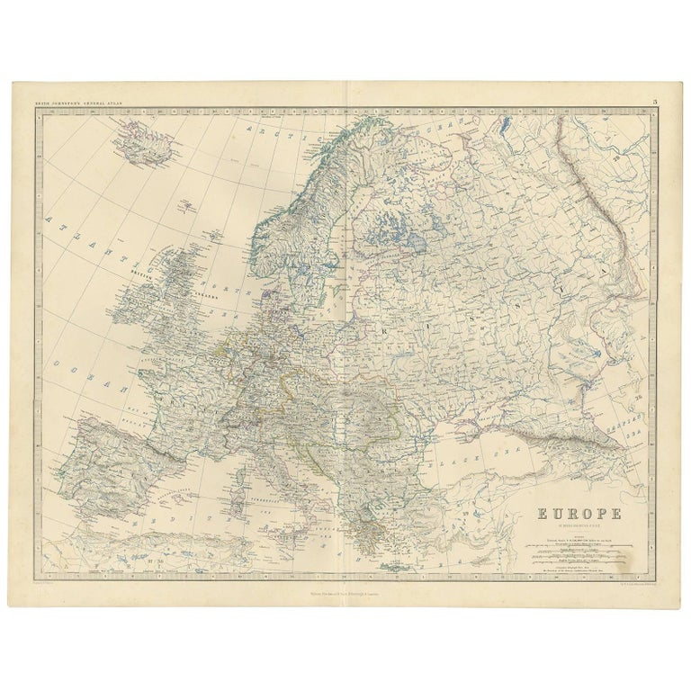 Map Of Europe For Sale.Antique Map Of Europe By A K Johnston 1865 For Sale At 1stdibs