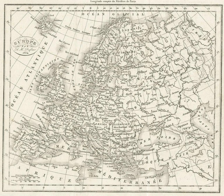 Antique Map of Europe by Dufour, 'circa 1834' In Good Condition For Sale In Langweer, NL